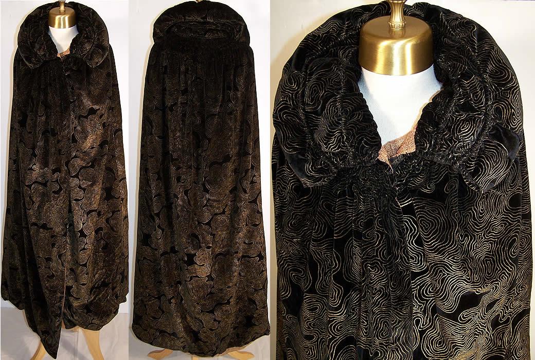 Gold Painted Black Velvet Opera Cloak Cape