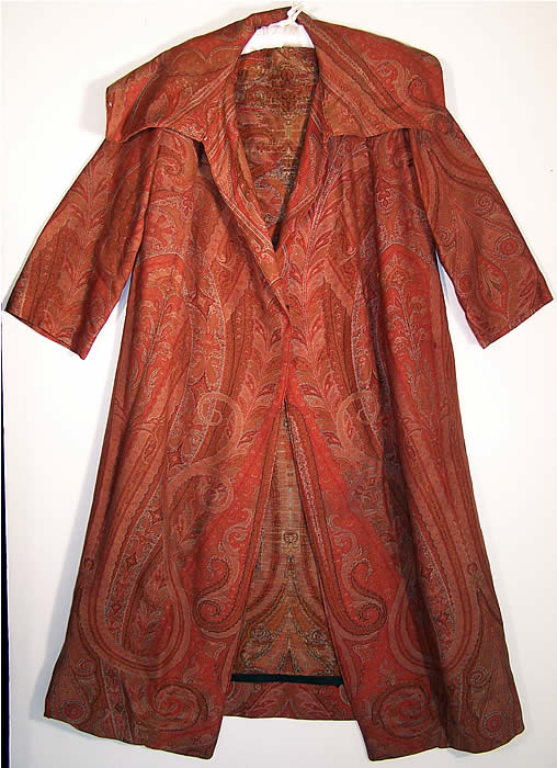 Antique Red Wool Paisley Shawl Coat