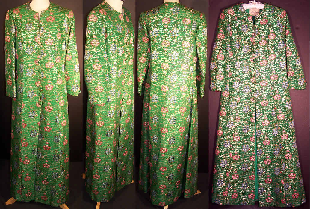 Green Gold Lam 233 Brocade Long Evening Coat