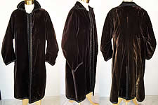 Edwardian Black Velvet Jet Beaded Winter Evening Coat.