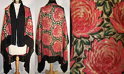 Art Deco Floral Gold Lame Black Silk Chiffon Shawl 44""