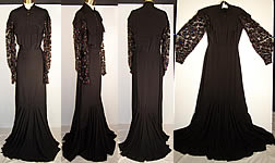1940 Vintage Henri Bendel Black Silk Sequin Evening Gown