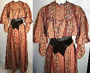 Antique Victorian Paisley Wool Bodice & Skirt Fabric Panel