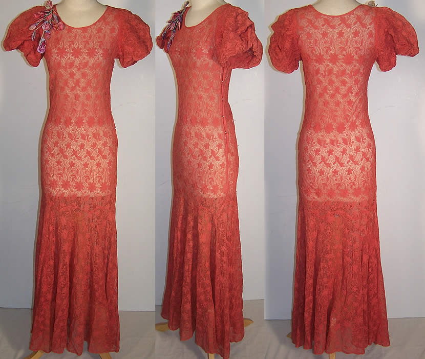 Coral Embroidered Net Lace Floral Trim Bias Cut Dress  Front view.