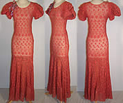 Coral Embroidered Net Lace Floral Trim Bias Cut Dress