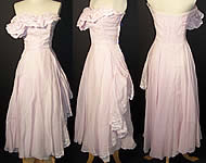 Vintage Lilac Organdy Embroidery Ruffle Strapless Dress