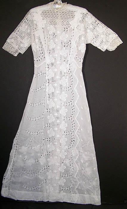 Edwardian White Eyelet Batiste Lawn Lace Wedding Dress