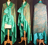Art Deco Green Silk Gold Lame Chiffon Cape Cloak Shawl