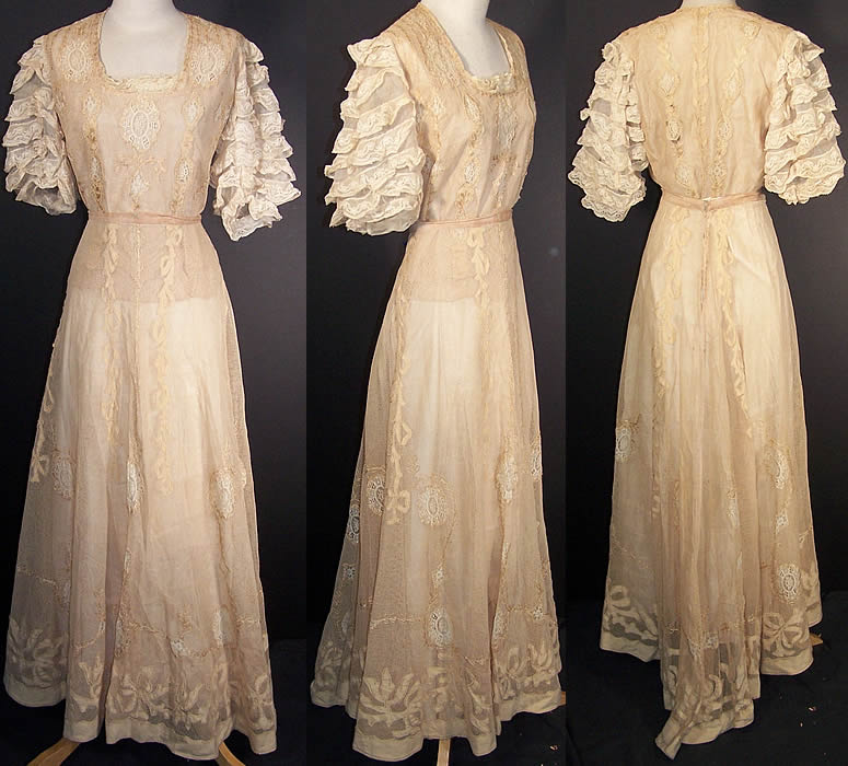 Edwardian Embroidered Net Lace Wedding Gown Dress