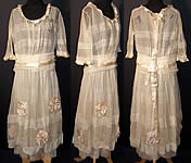 1918 Vogue Co Edwardian Ecru Net Ribbon Rosette Dress