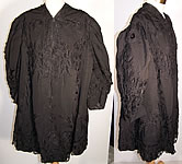 Edwardian Battenburg Tape Lace Black Silk Coat Jacket