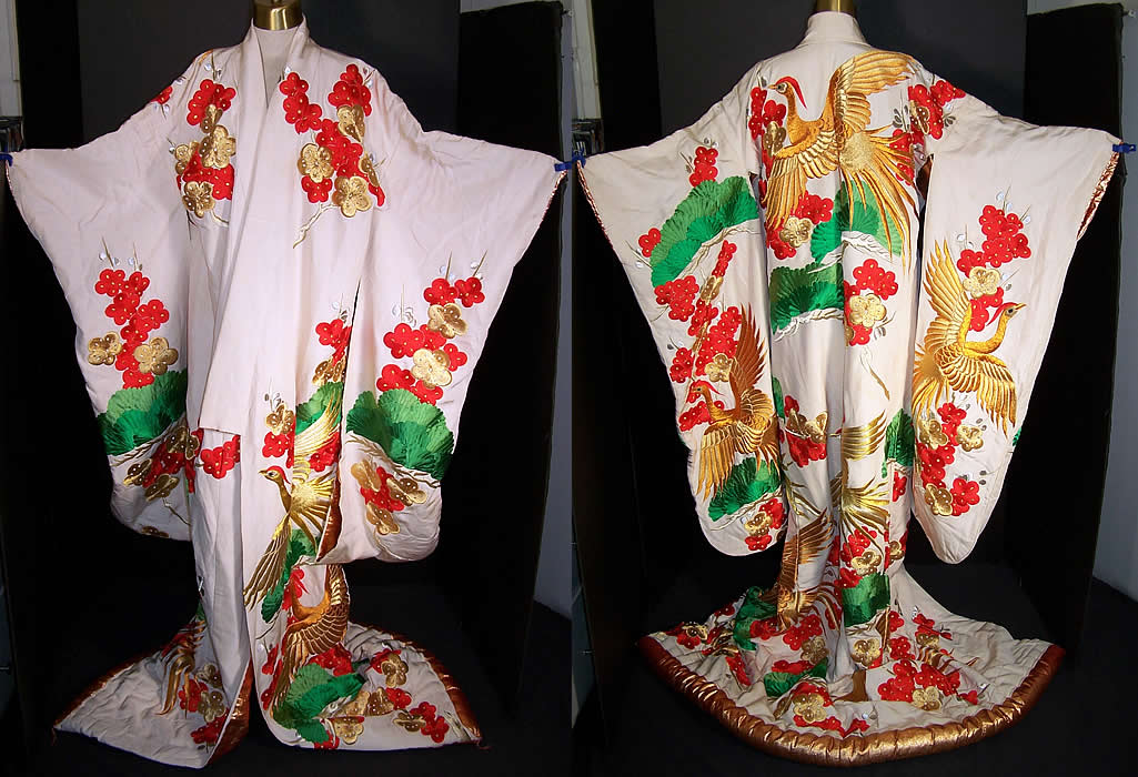 Japanese Gold Phoenix Embroidered Uchikake Wedding Kimono