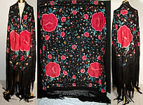 Antique Floral Roses Silk Embroidered Canton Piano Shawl