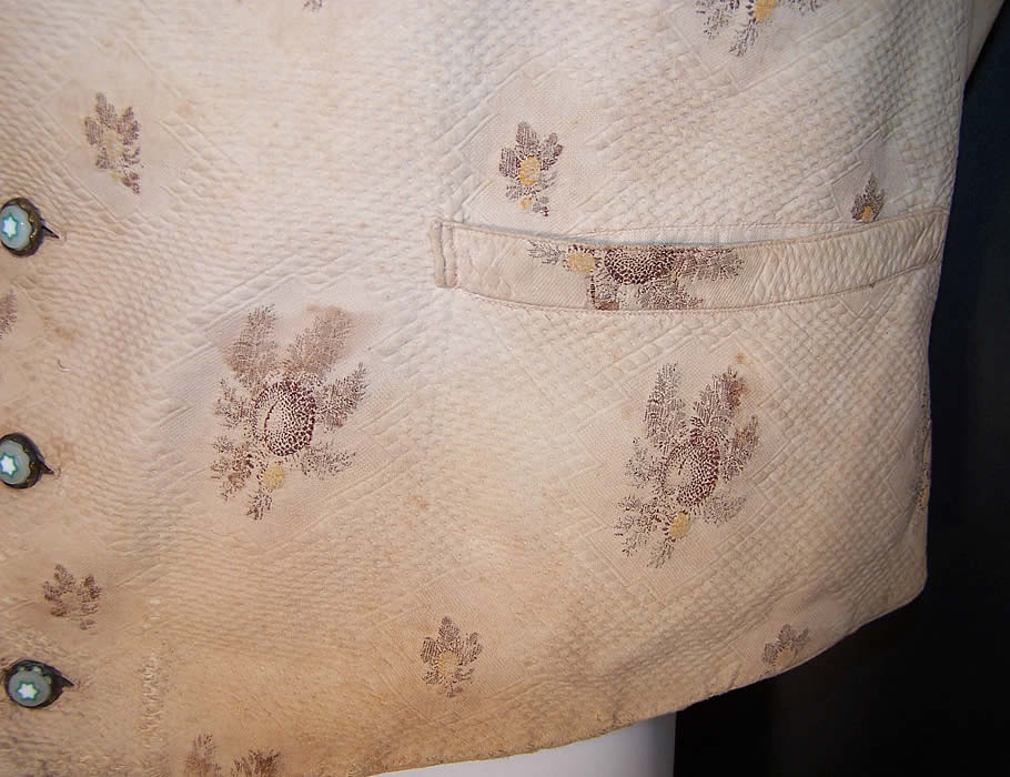 Victorian Men's Thistle Roller Print Cotton Waistcoat Vest Close-up