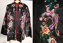Vintage Chinese Silk Embroidered Phoenix Robe Jacket
