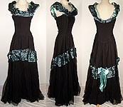 Vintage 1940 Black Lace Blue Satin Formal Gown Dress