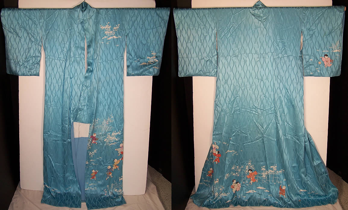 Japanese Geisha Silk Screen Childrens Day Kimono