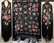 Antique Floral Silk Embroidered Large Canton Piano Shawl