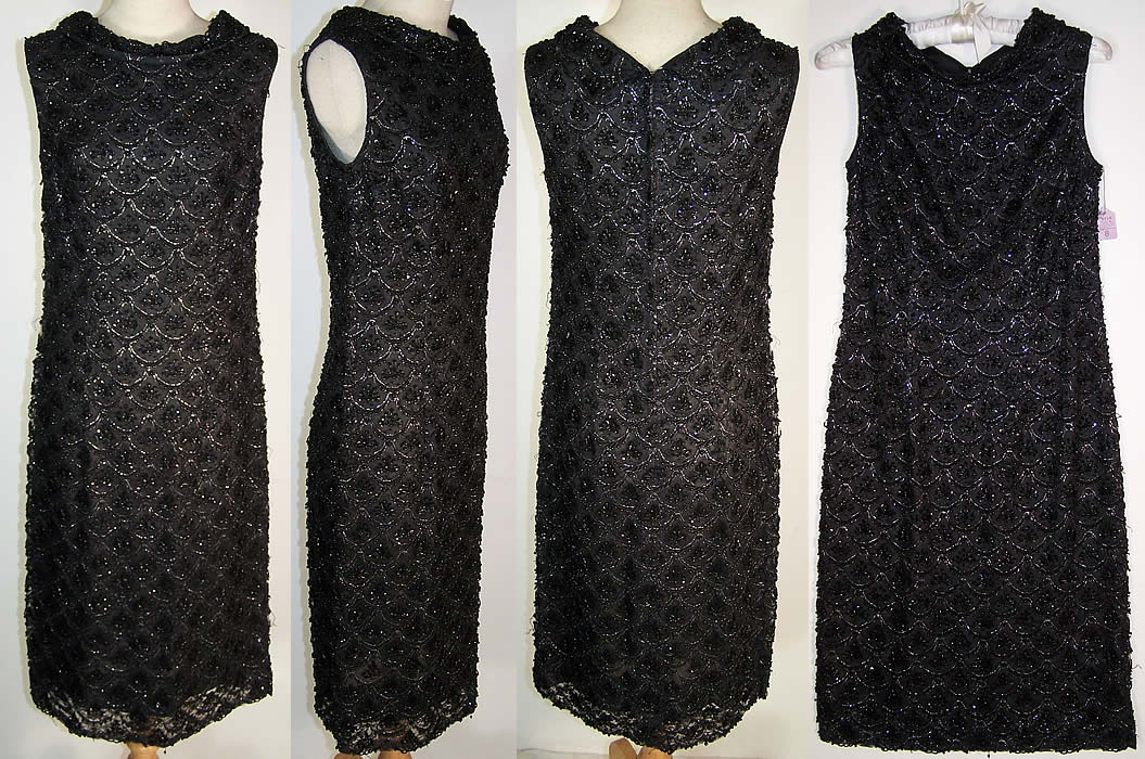 Vintage Black Lace Net Sequin Beaded Cocktail Dress   Front view.