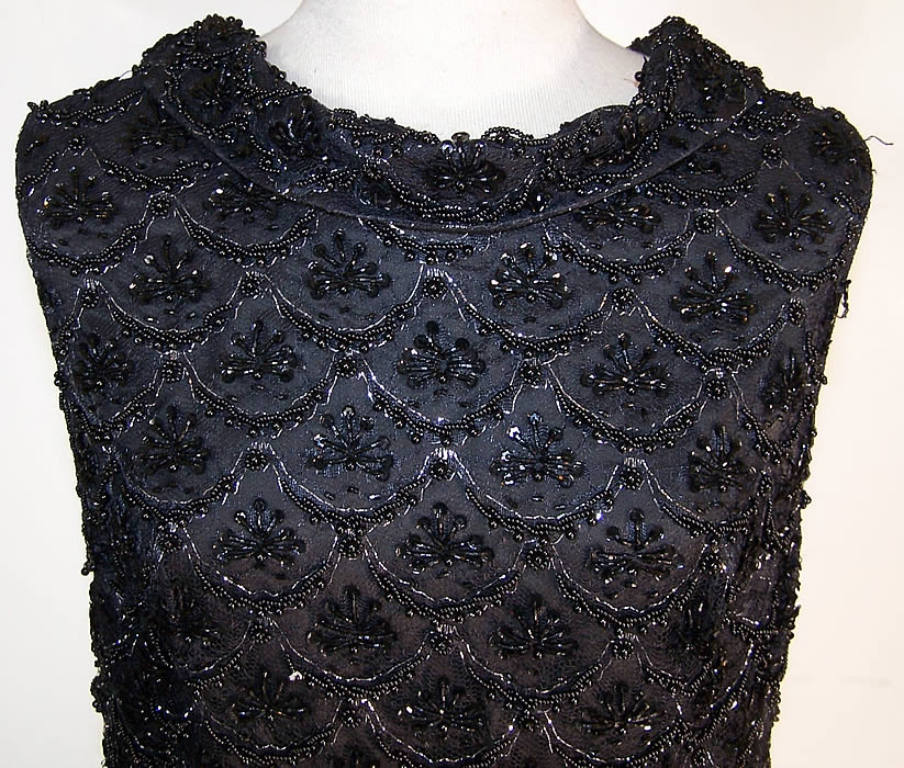 Vintage Black Lace Net Sequin Beaded Cocktail Dress
