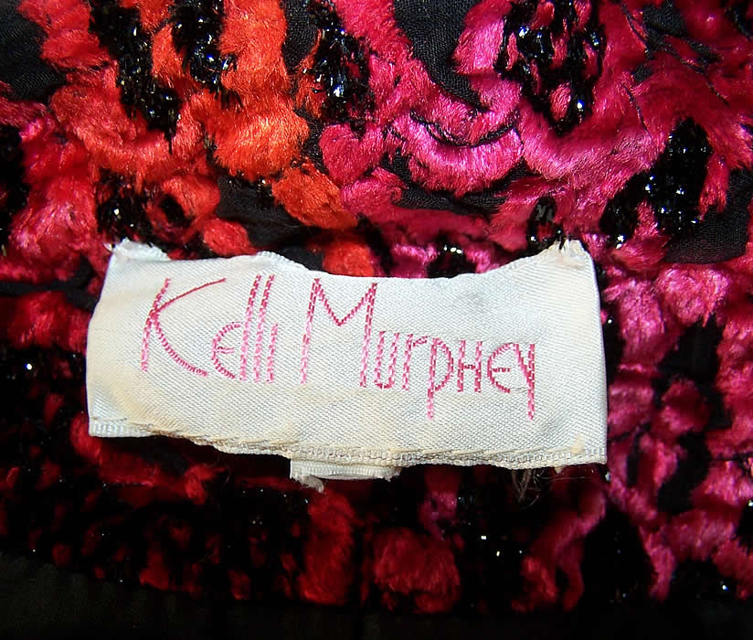 Kelli Murphey Red Chenille Peplum Skirt Jacket  Close up.