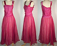 1940 Vintage Fuchsia Pink Silk Chiffon Party Dress