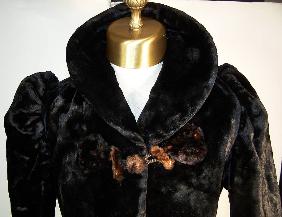 Victorian Plush Velvet Beaver Fur Winter Coat Jacket Close-up View.