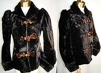 Victorian Plush Velvet Beaver Fur Winter Coat Jacket