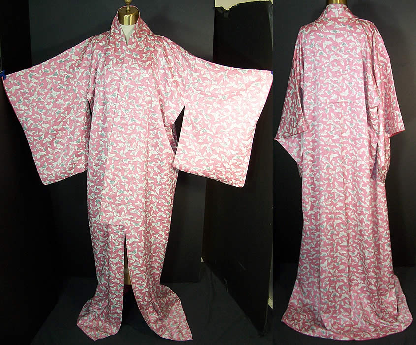 Japanese Geisha Silk Screen Pink Butterfly Kimono  Front view.