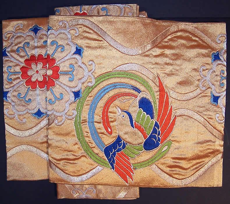 Japanese Geisha Gold Brocade Bird Kimono Tsuke Obi Front view