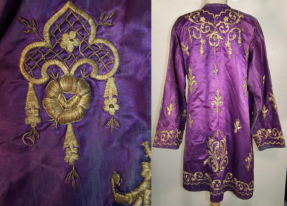Ottoman Turkish Gold Embroidered Purple Silk Jacket