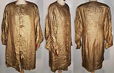 VTG Art Deco Gold Lamé Red Dot Evening Coat Jacket
