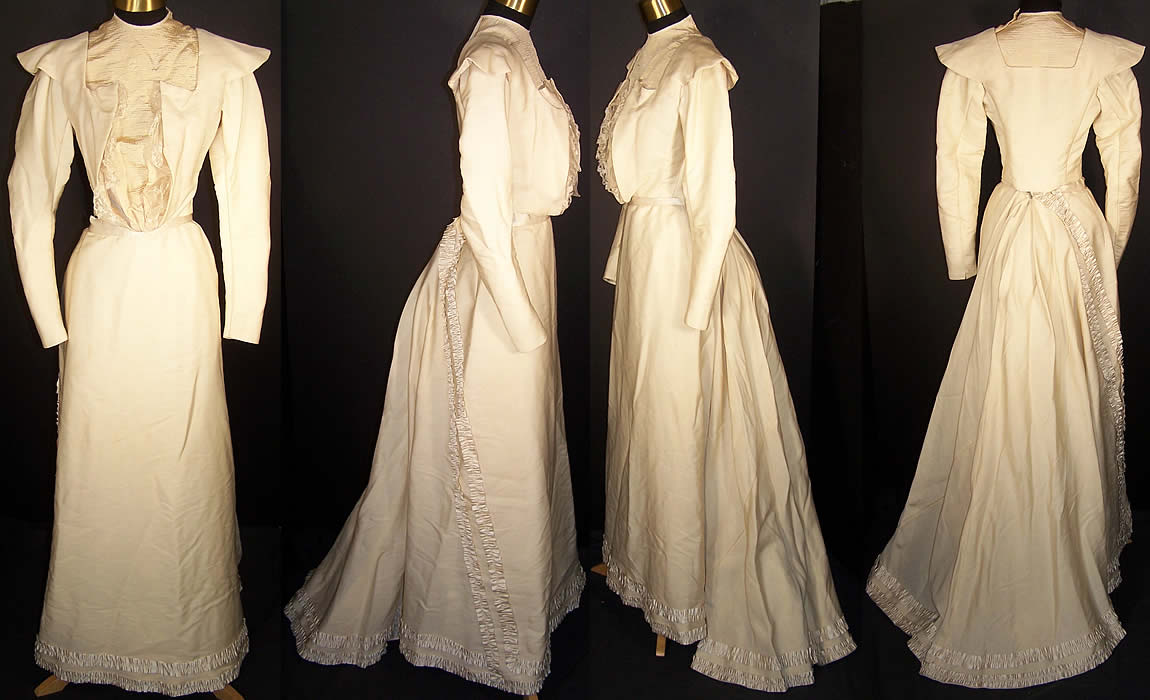 Victorian cream wool bustle train wedding gown dress for Wedding dress train bustle