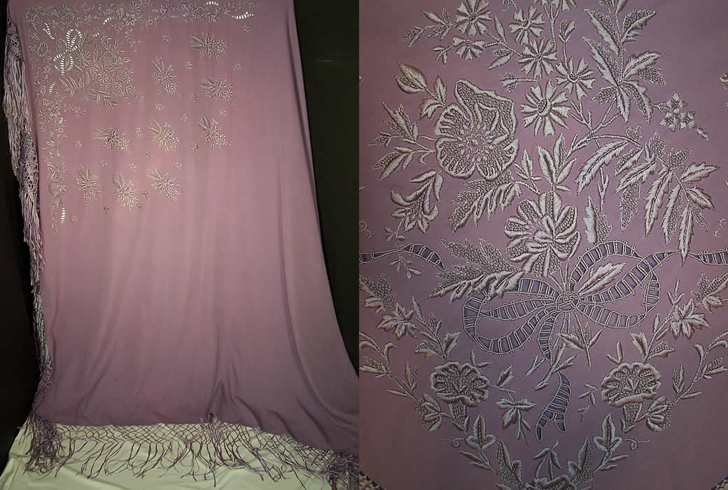 Victorian Antique Lilac Purple Embroidered Wool Shawl Front View.