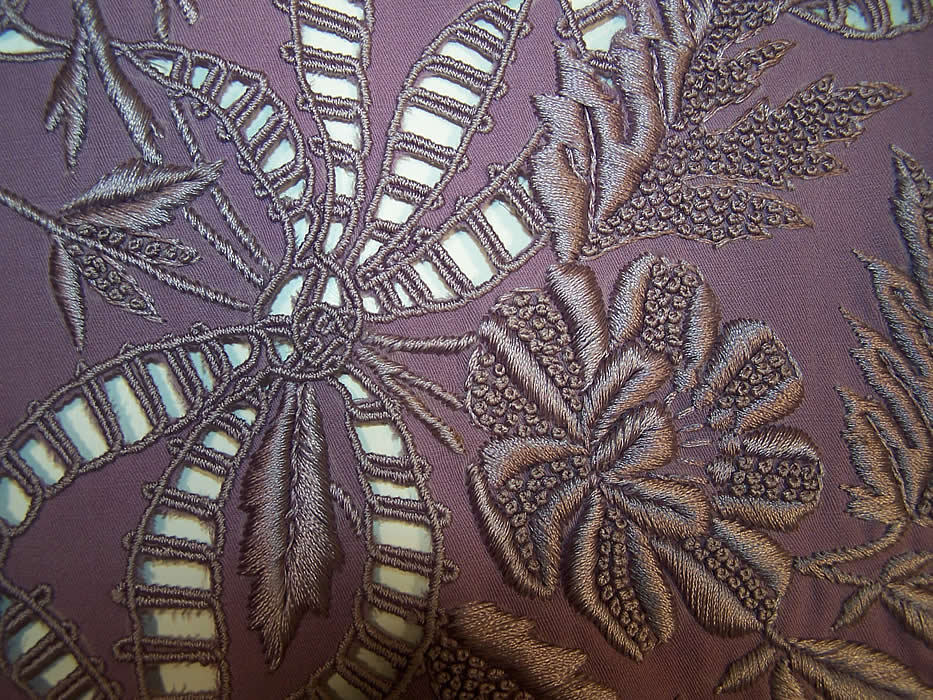 Victorian Antique Lilac Purple Embroidered Wool Shawl Close up.
