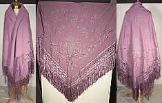 Victorian Antique Lilac Purple Embroidered Wool Shawl