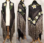 Embroidered Crochet Knit Floral Daisy Fringe Shawl VTG