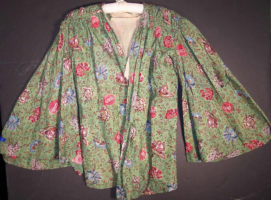 Antique Botanical Green Chintz Roller Print Shirt Jacket