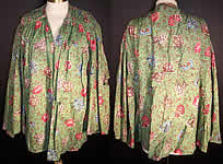 Antique 1830 Botanical Green Chintz Roller Print Shirt Jacket
