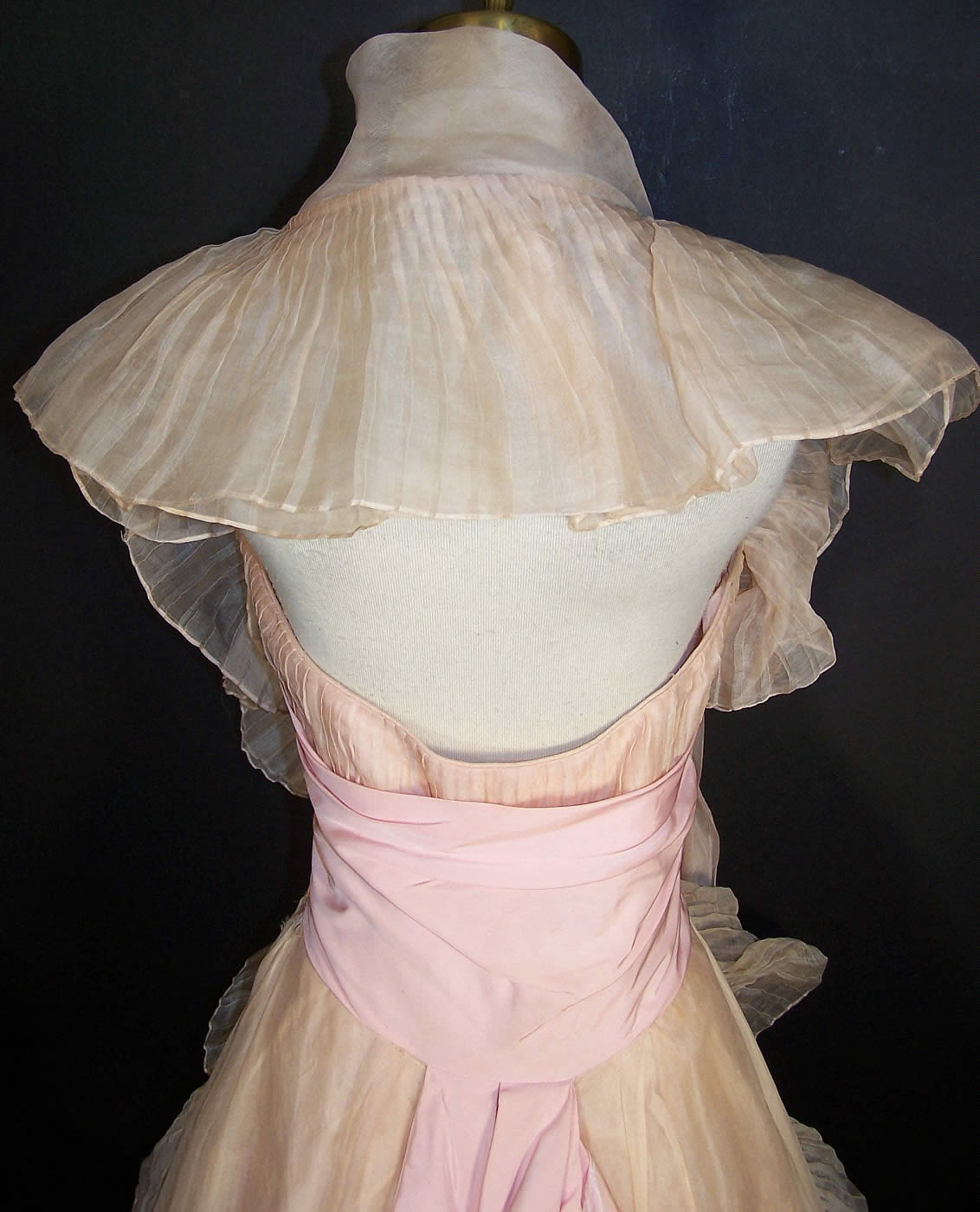 Vintage Ceil Chapman Blush Pink Organdy Strapless Dress
