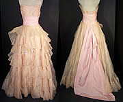 Ceil Chapman Pink Organdy Strapless Dress Ball Gown VTG