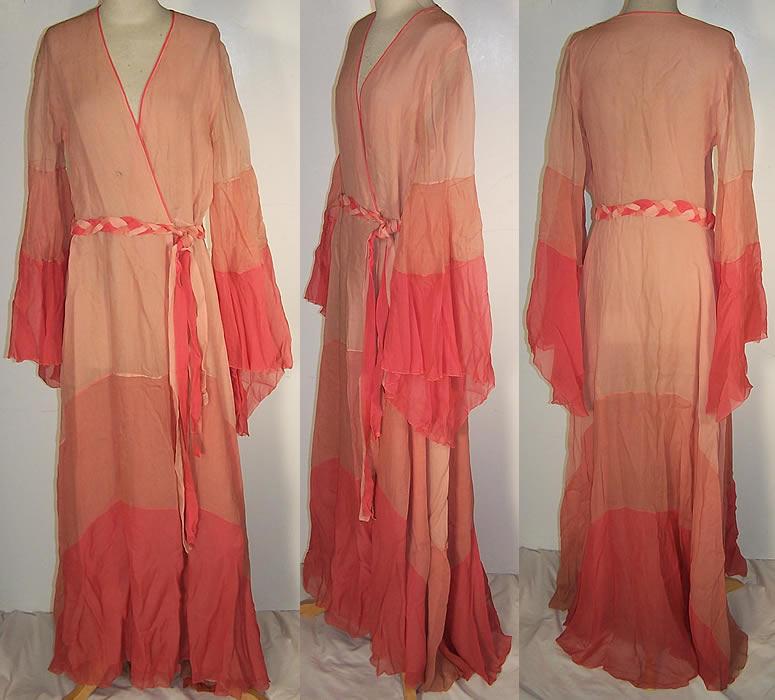 Art Deco Pink Silk Chiffon Boudoir Dressing Gown Robe