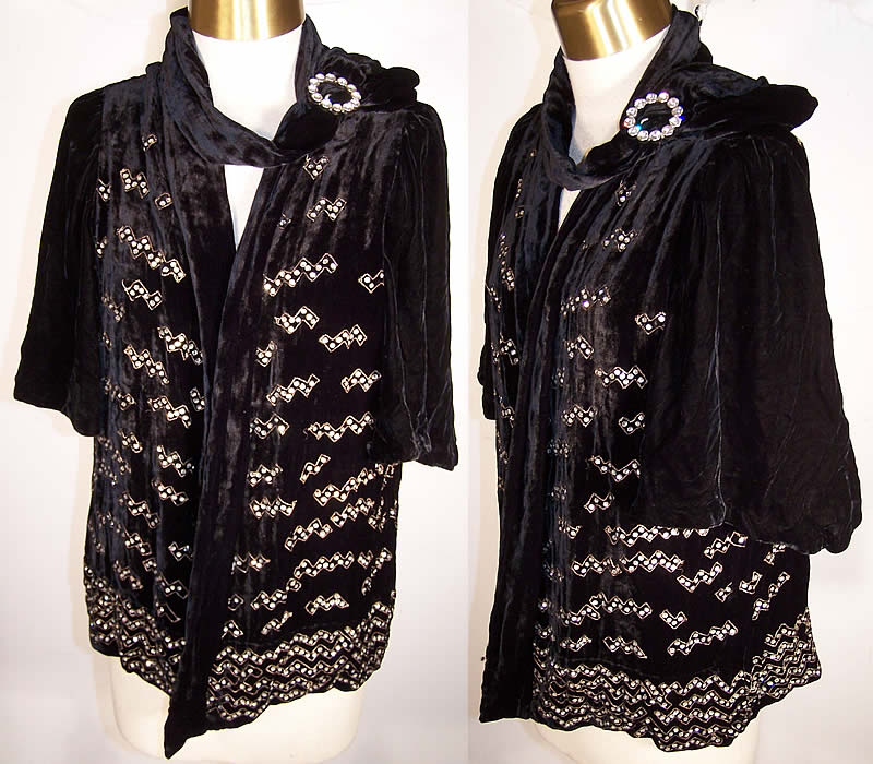 Art Deco Black Silk Velvet Rhinestone Beaded Jacket  Front view.