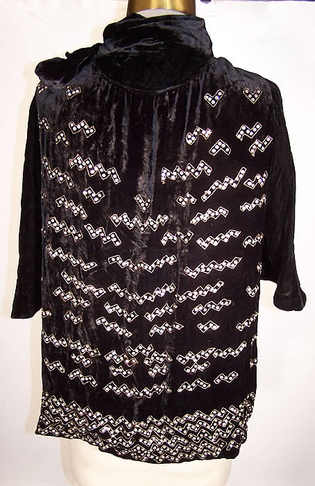 Art Deco Black Silk Velvet Rhinestone Beaded Jacket back view.