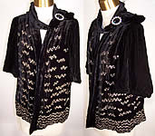 Art Deco Black Silk Velvet Rhinestone Beaded Jacket