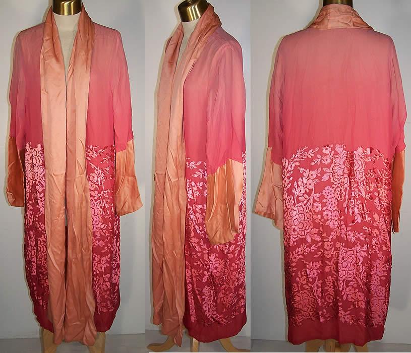 Art Deco Pink Silk Chiffon Voided Velvet Robe Coat