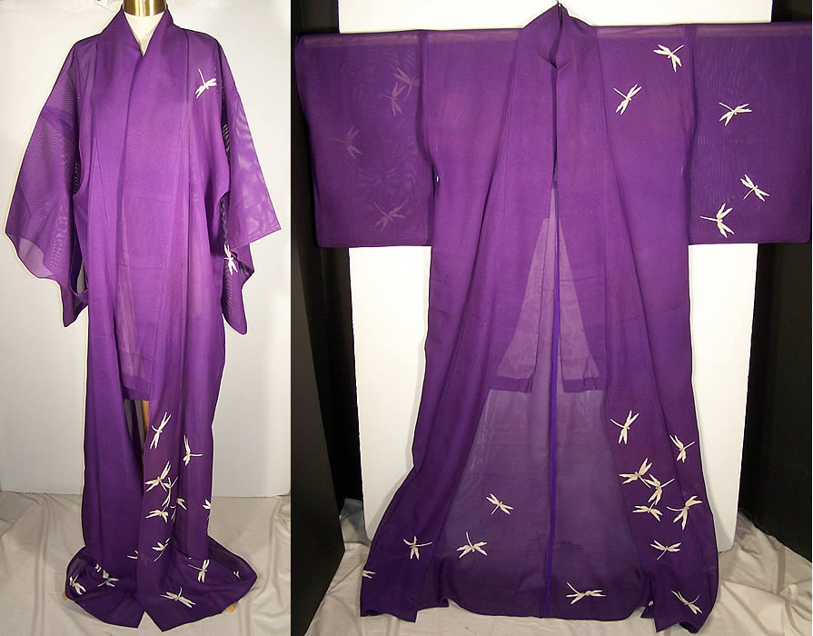 Japanese Geisha Sheer Silk Screen Dragonfly Plum KimonoFront view.