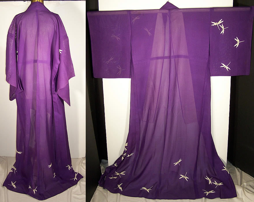 Japanese Geisha Sheer Silk Screen Dragonfly Plum Kimono Back View.