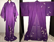 Japanese Geisha Sheer Silk Screen Dragonfly Plum Kimono