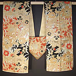 Japanese Orange Black Gold Brocade Kimono Obi Sash